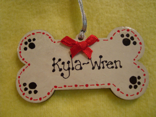 puppy dog Personalised Wooden Bone Shaped Christmas Tree Hanger Decoration Hand Painted